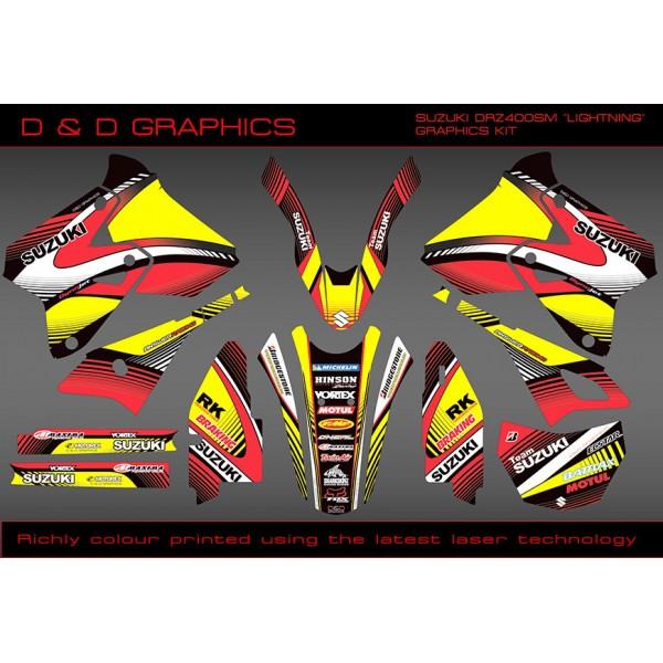 "Suzuki DRZ400SM, DRZ400S DRZ400E "" LIGHTING  "" Full Graphics kit Black"