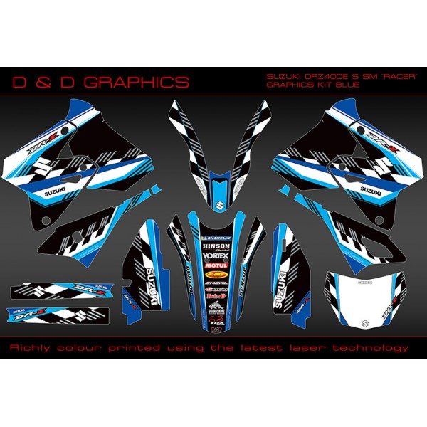 "Suzuki DRZ400SM, DRZ400S DRZ400E "" Racer "" Full Graphics kit blue"