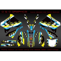 "Suzuki DRZ400SM, DRZ400S DRZ400E "" Racer "" Full Graphics kit yellow"