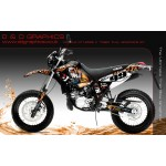 "Yamaha DT125RE / X Lanza ""Tiger "" Full Graphic Kit Black"