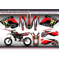 "Yamaha DT125RE / X  Lanza  "" Monster "" Full Graphic Kit Red"