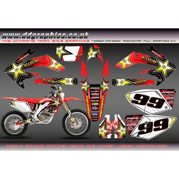 "Honda CRF205X ""Rock Star "" Full Graphics Kit Red 2004-2009"
