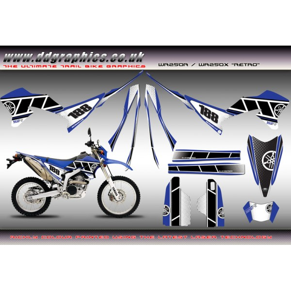 "Yamaha WR250X WR250R "" Retro "" Full Graphics Kit"