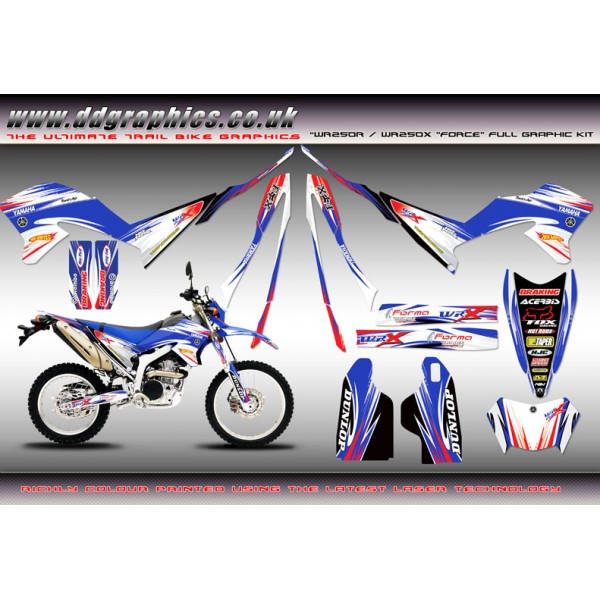 "Yamaha WR250X WR250R ""Force"" Full Graphics Kit Blue"