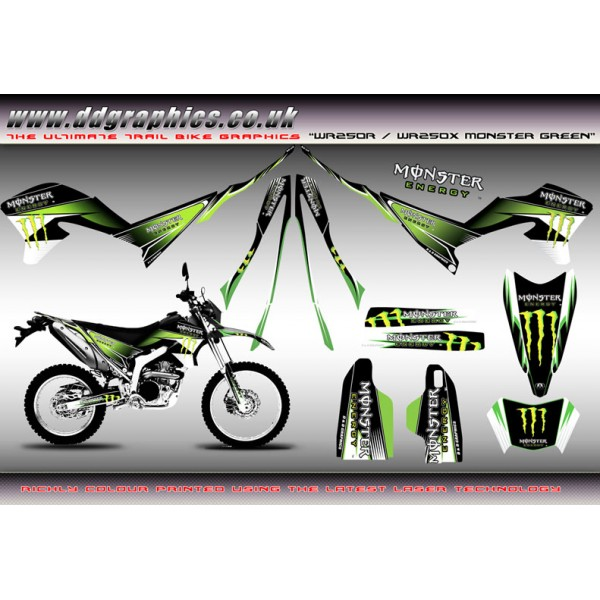 "Yamaha WR250X WR250R "" Monster "" Full Graphics Kit Green """