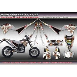 "Yamaha WR250X WR250R "" Player "" Full Graphics Kit White"