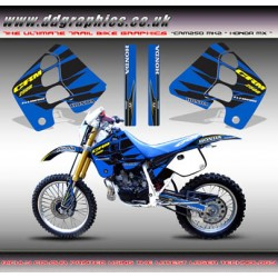 "Honda CRM250 Mk2 ""Honda MX"" Tank Graphics Kit (Blue)."