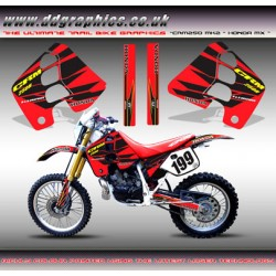"Honda CRM250 Mk2 ""Honda MX"" Tank Graphics Kit (Red)."