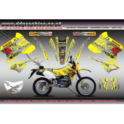 "Suzuki DRZ400 ""Barbed Wire"" Full Graphic Kit Yellow"