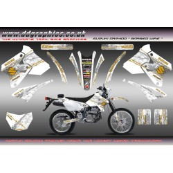 "Suzuki DRZ400 ""Barbed Wire"" Full Graphics Kit White"