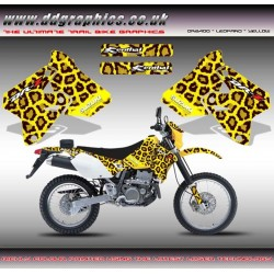 "Suzuki DRZ400 "" leopard "" Tank Graphics Kit  Yellow."