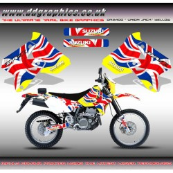 "Suzuki DRZ400 ""Union Jack"" Tank Graphics Kit Yellow"