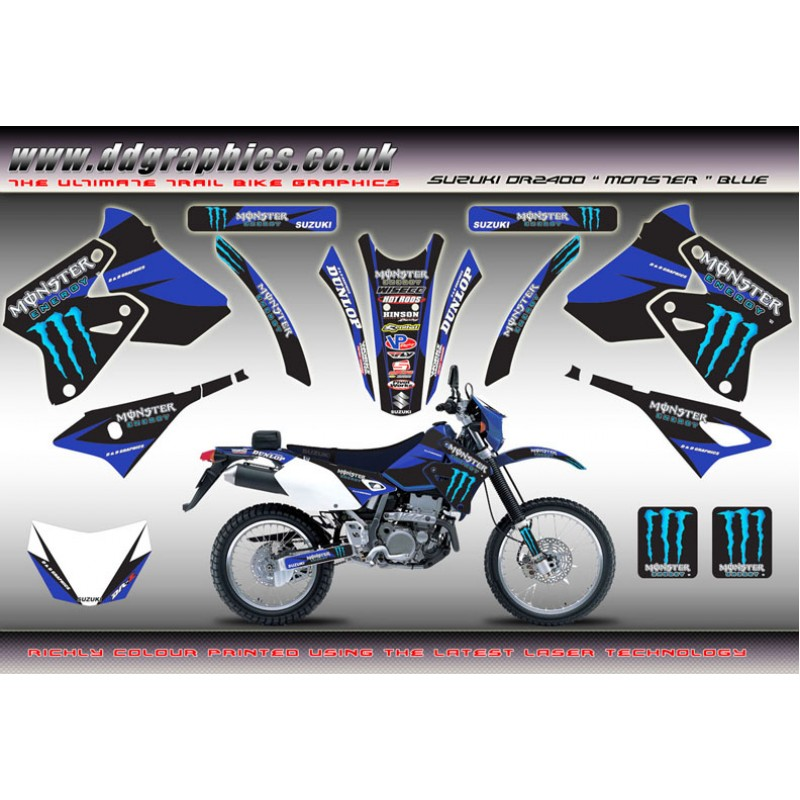 Suzuki drz400 monster full graphics kit blue