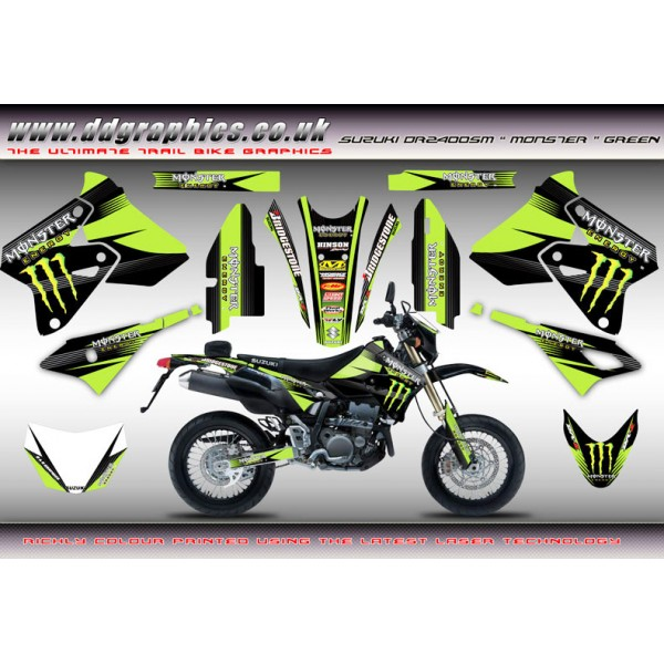 "Suzuki DRZ400Sm ""Monster"" Full Graphics Kit Green"