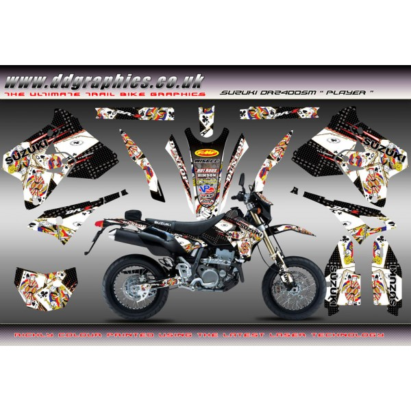 "Suzuki DRZ400Sm ""Player"" Full Graphics Kit Black"