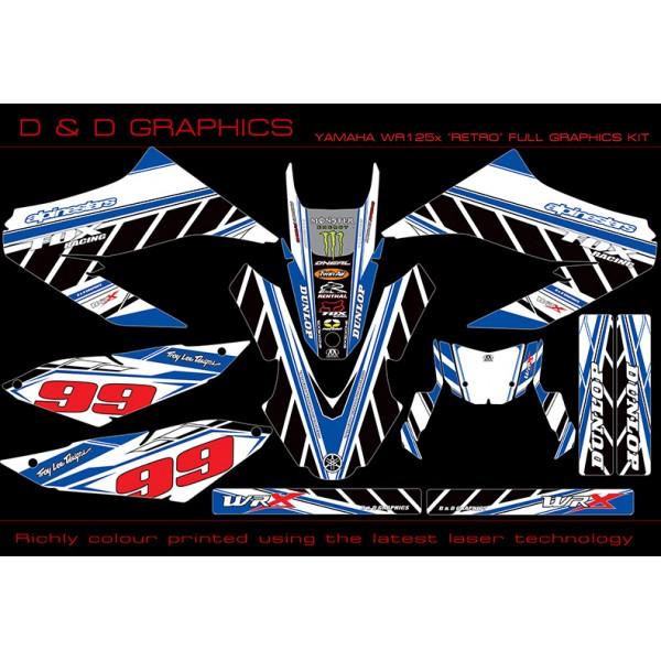 "Yamaha WR125X WR125R ""Retro"" Graphics Kit White"